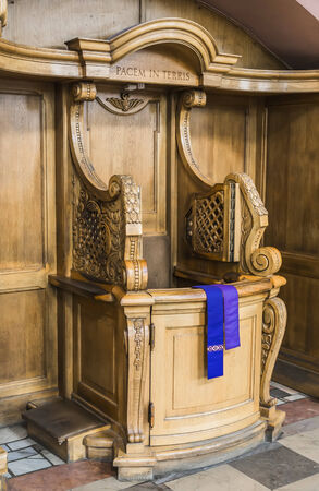 wooden confessionals in the church