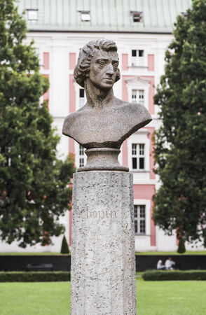 frederic chopin monument: Bust of the great composer Frederic Chopin. Poznan. Poland Stock Photo