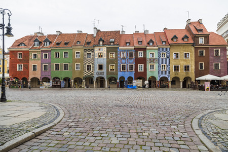 POZNAN, POLAND - AUGUST 04, 2014: A row of houses from the 16th century at the old market of Poznan on August 04, 2014. Poland.