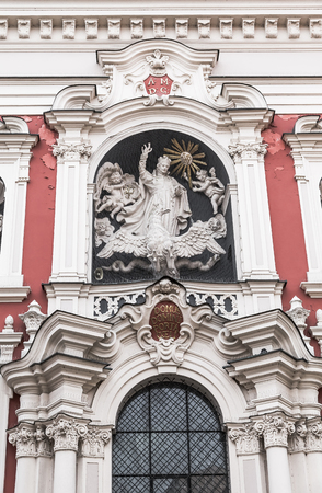 wielkopolskie: The sculpture on the facade of the church of Our Lady of Perpetual Help and St. Mary Magdalene. Poznan. Poland