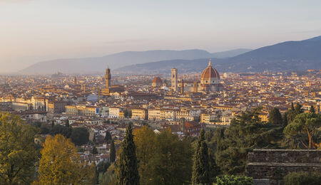 Florence at sunset - view from the church of St. Minias on the Mountain