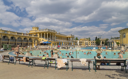 szechenyi: BUDAPEST, HUNGARY - MAY 05, 2014: Unidentified people in a Pool of the Szechenyi Medicinal Bath complex Editorial