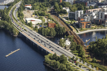 Road and rail bridges in the city of Tampere. Finland