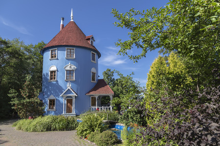 stove pipe: Moomin house on a sunny summer day. Finland Stock Photo
