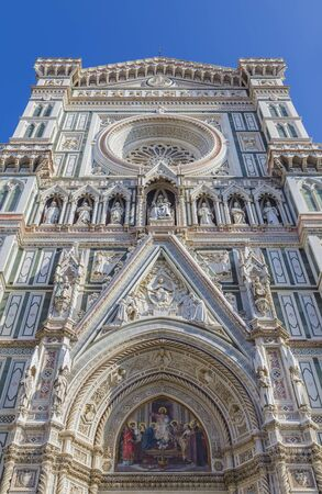 fiore: Detail of the facade of the Cathedral of Santa - Maria - del - Fiore. Florence. Italy Stock Photo