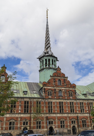spire: Historic building with a beautiful spire - Copenhagen Stock Exchange