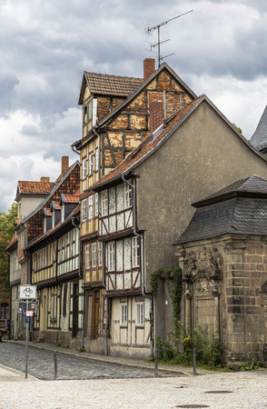 roof framing: Old houses in the national style in the city center. Quedlinburg. Germany