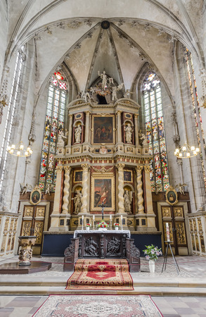 high altar: The high altar in the style of classic Baroque in the church of St. Benedict. Quedlinburg. Germany Stock Photo