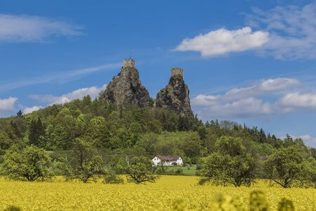 hill of the king: The surviving towers of the castle Trosky. Czech Republic Editorial