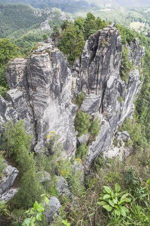 schweiz: Bastei rocks, Sachsische Schweiz near Dresden area, Germany Stock Photo