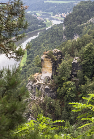 national landmark: National Landmark Germany - Bastei - sandy cliff on the background of the valley of the Elbe River in Saxon Switzerland