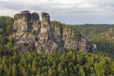 Bastei - ridge of rocks in Saxon Switzerland on the river Elbe. Germany