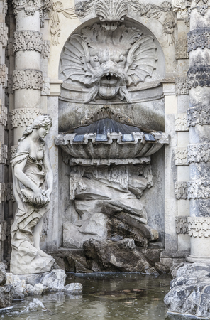 nymphs: The fountain Bath of nymphs in Zwinger. Dresden, eastern Germany. Editorial