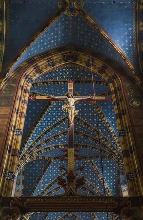 marys: The interior of St Marys church in Krakow. Poland