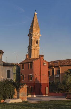 martino: Tower of the Church of San Martino, on the island of Burano. Italy Stock Photo
