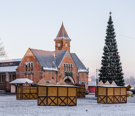 vyborg: The building of the covered market in Vyborg during the Christmas holidays