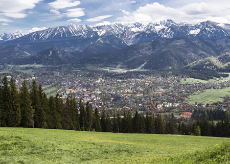 zakopane: View of the valley, the Western Tatras and Zakopane from Gubalowka Mountain. Poland