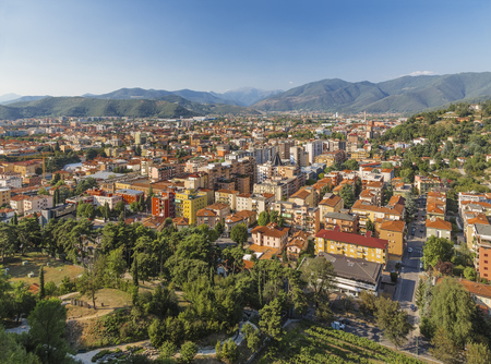 View of the modern neighborhoods of Brescia hill Cidneo. Italy