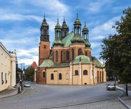 wielkopolskie: Basilica of the Holy Apostles Peter and Paul on the island Tumski in Poznan. Poland Stock Photo