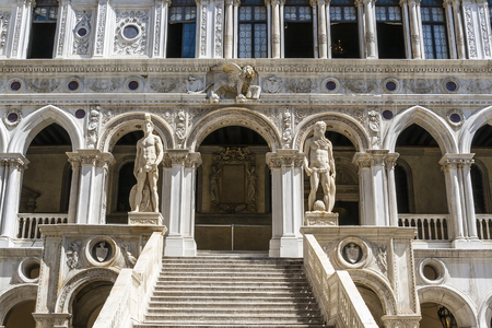 doges: Stairs Giants in the Doges Palace. Venice. Italy
