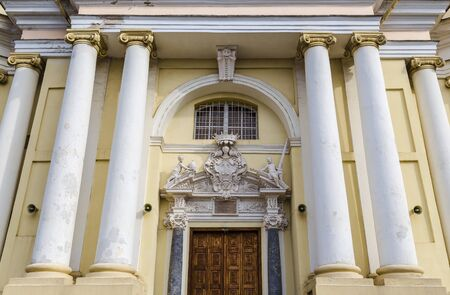 saints peter and paul: The main entrance to the Church of Saints Peter and Paul in Vilnius. Lithuania Stock Photo