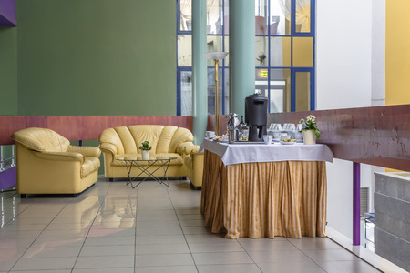 coffee breaks: Spacious hall with space for coffee breaks Stock Photo