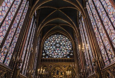 PARIS, FRANCE - MAY 18, 2016: Beautiful interior of the Sainte-Chapelle (Holy Chapel), a royal medieval Gothic chapel in Paris, France