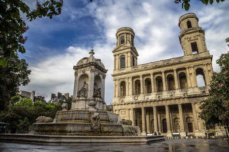 Church Saint-Sulpice and the fountain in front of her. Paris. France