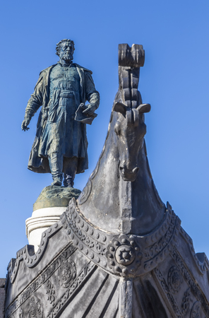 The monument to Afanasy Nikitin at the embankment of the Volga River in Tver. Russia