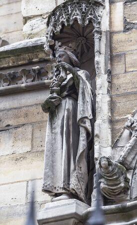 ile de la cite: Sculpture decorating a wall Saint Chapel on the Ile de la Cite in Paris. France