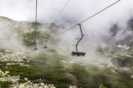 Outdoor chair lift in the mountains. Slovakia