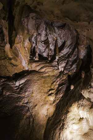 stalagmites: Relief in a mountain cave, stalactites and stalagmites. Slovakia