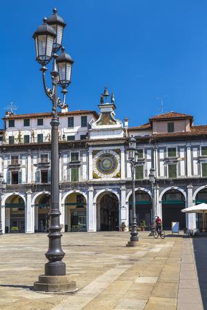 The clock tower on the Piazza della Logia in Brescia. Italy