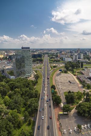 View of Panonska Cesta street in residential district Petrzalka in Bratislava city. Slovakia