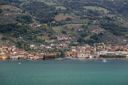 Lake Iseo and the village Sale Marasino. Italy Stock Photo