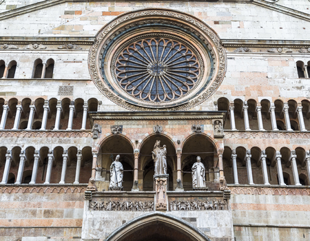 Detail of the facade of the Cathedral of the city. Cremona. Italy