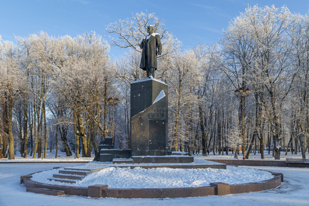 NOVGOROD, RUSSIA - JANUARY 10 2016: The monument to Vladimir Ulyanov - Lenin near the Novgorod Kremlin. Russia