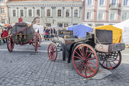 VILNIUS, LITHUANIA - MARCH 08, 2015: Outdoor kitchen and barbecue on holiday Kaziukas in Vilnius