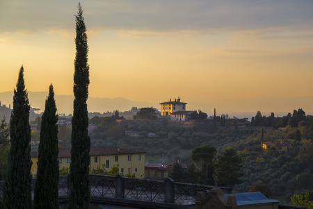 Florence landscape with a view of the houses in a hilly terrain. Florence. Italy