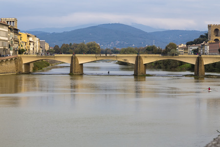 Arno River in Florence, and the bridge over it. Italy