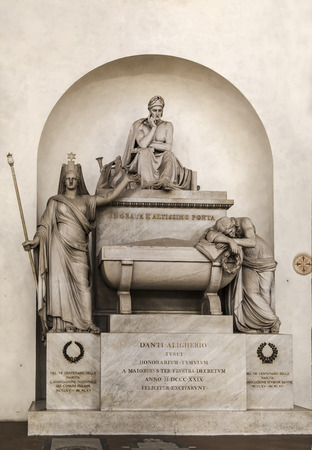 FLORENCE, ITALY - OCTOBER 29, 2014: Gravestone of Dante in the Basilica of Santa Croce in Florence. Editorial