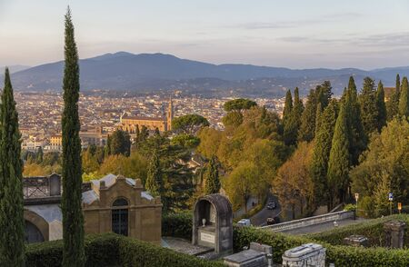 croci: View of Florence from the hill of Monte alle Croci. Italy
