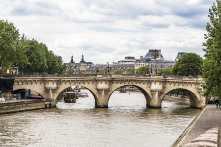 Pont Neuf - the oldest arch bridge in Paris. France Stock Photo
