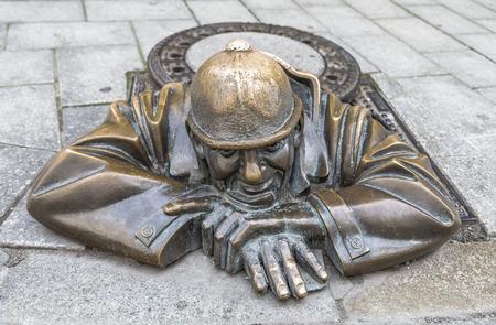 BRATISLAVA, SLOVAKIA - JULY 27, 2016: Sculpture of a plumber or the person at work, Bratislava, Slovakia Editorial
