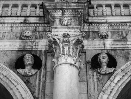 Detail of the facade of a historic building Palazzo Loggia in Brescia. Italy Stock Photo