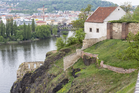 A small house on a steep bank of the Vltava River in Visegrad. Prague. Czech Republic Stock Photo