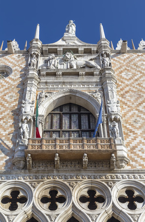 Balcony in the palace of the Doges of the Venetian Republic. Venice. Italy.