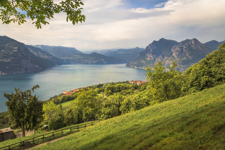 The valley on the island of Monte Isola and Lake Iseo. Lombardy. Italy Stock Photo