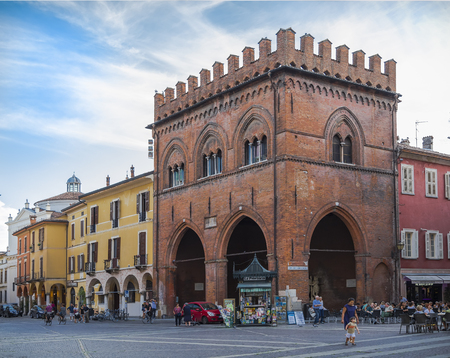 CREMONA, ITALY - SEPTEMBER 02, 2015: Soldiers Loggia (Loggia dei Militi) - one of the oldest buildings in Cremona, is located on the square in front of the Cathedral of the commune. Italy