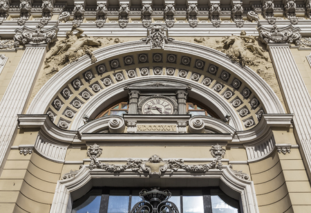 cherubs: The facade of the historic building, Neglinnaya street house 14 in Moscow. Russia